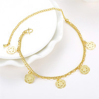 2016 New Designs 18k Gold Plated Women Anklet Popular Chain Flower Pendent Foot Feet Jewelry AJ-003 Moonso