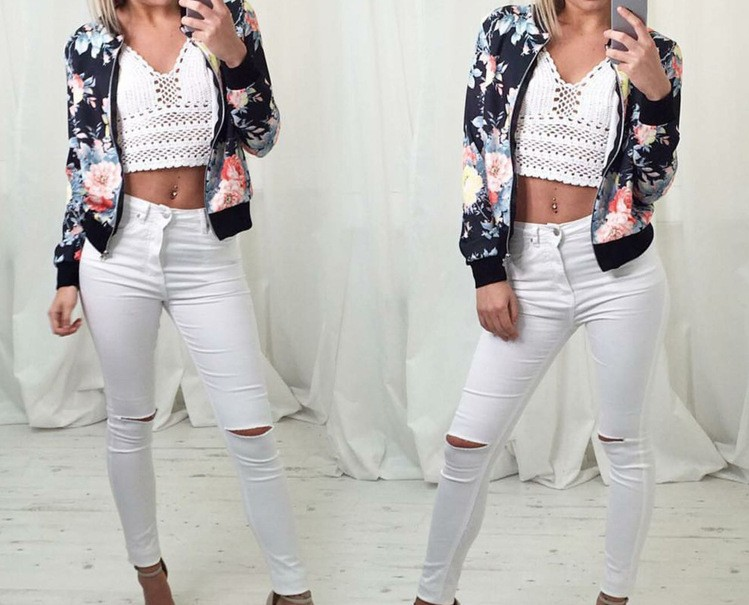 ZH0589A European fashion floral printed women bomber jacket