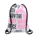 Custom logo print outdoor shopping polyester cotton drawstring bag
