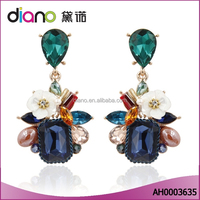 2016 New Bohemian Women Jewelry Multicolor Crystal Resin Flower Drop Earrings