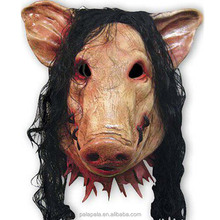 Animal Prop Latex Party Unisex Scary Pig Head Mask Latex Rubber Scary With Black Hair Creepy Halloween mask