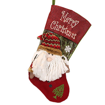 Embroidered christmas stocking for candy gift bag