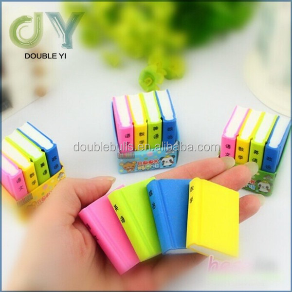 China Mixed Color Cute book Shaped Rubber Pencil Erasers