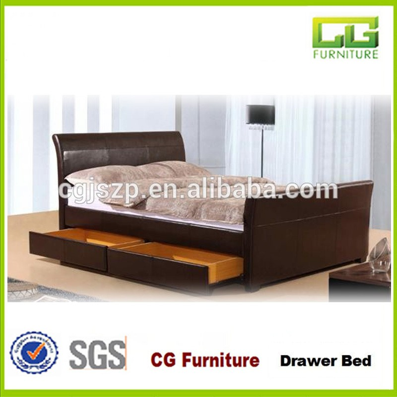 Hot Cheap 4FT6 Double Brown Faux Leather 2 Drawer sleigh Bed