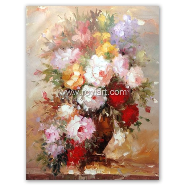 heavy pallet knife canvas flower oil painting created by ROYI ART