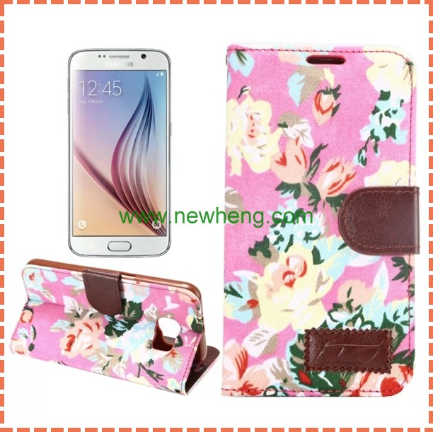 Flower Jeans Cloth Skin Wallet Flip Leather Case for S6 Edge Plus
