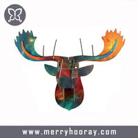Minimalist Abstract Creative Wooden Moose Head Wall Hangings Living Room Bedroom Children Room Bar Decoration