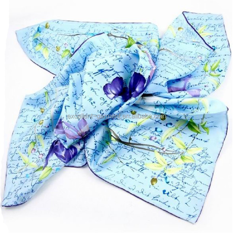 90*90cm screen printed 100% silk scarf with hand rolled hem