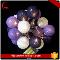 Cotton ball led hanging light string for christmas holiday