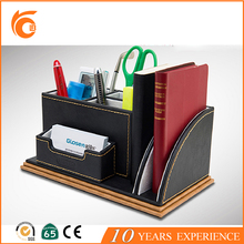 2017 PU leather office desk leather stationery set With Pen Holder Office Desk Organizer