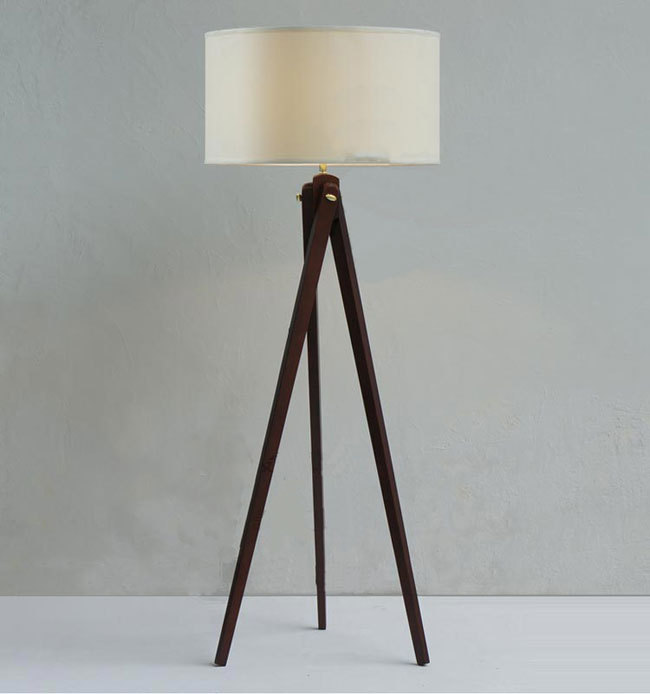 Natural Wood Handmade Modern Tripod Wooden Floor Lamp With Cloth