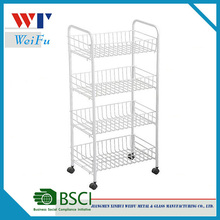4 Tier Multifunction Utility Cart Kitchen Storage Cart with 4 Wheels , Easy moving