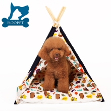 Wholesale custom durable cotton canvas pet cat play sleep teepee tent wooden dog house