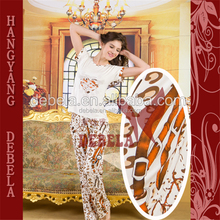 New hot sale customized sexy unique women's printed home wear, fashion ladies night heated pajamas