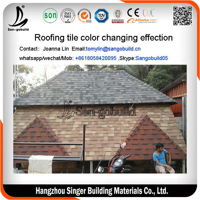 Roofing classical tile / asphalt shingles roof shingles / asphalt shingle wood color