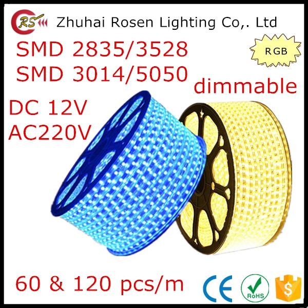 60 120 leds/m waterproof SMD 2835 3528 3014 5050 dimmable 12V 220V RGB LED strip light with remote control