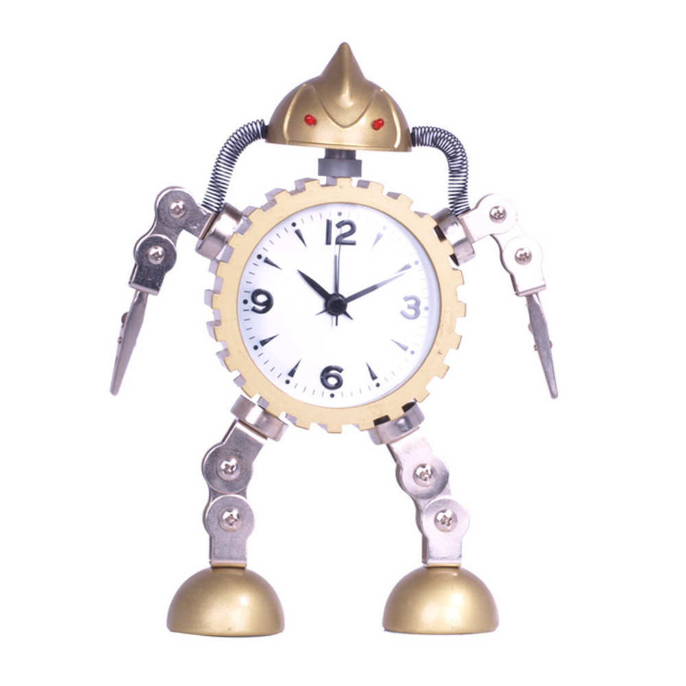 Children gift small toy metal robot alarm clock