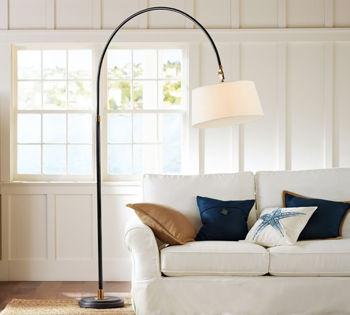 117-10 pivoting head and a diffuser on the shade Illuminate a large seating area handsome arc sectional floor lamp