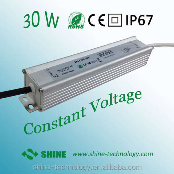 24v/12v 30w led lighting transformers ip67 ac dc led driver power supply with 3years warranty
