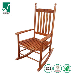 Teak color garden antique recliner rocking chairs outdoor folding relax wooden rocking chair