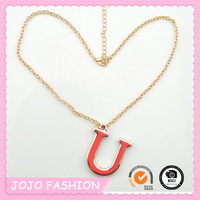 Colorful Enamel Letter Pendant Thin Chain Letter Necklace with Extender Clasp/