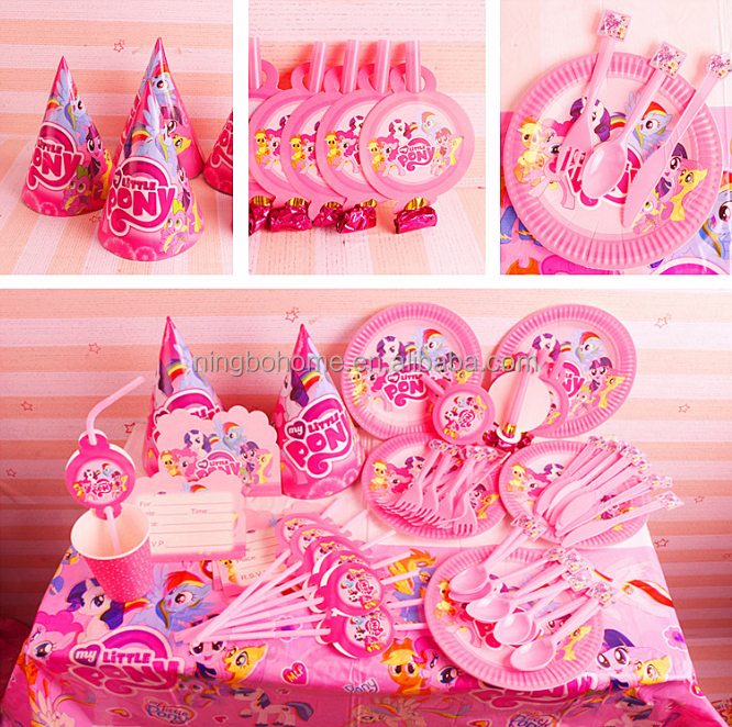 Theme birthday party set the unicorn design party set with straw hats