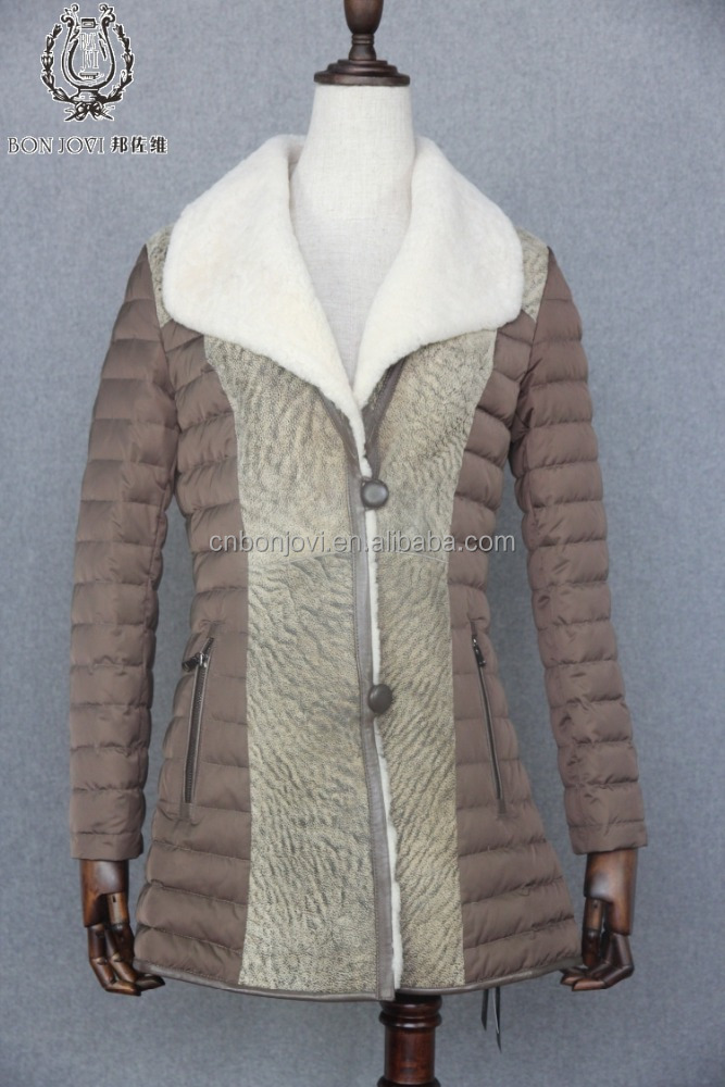 Stock Style Sheep Fur Down Coat Customized Size Down Jacket Warm Motherhood Down Outer Ware