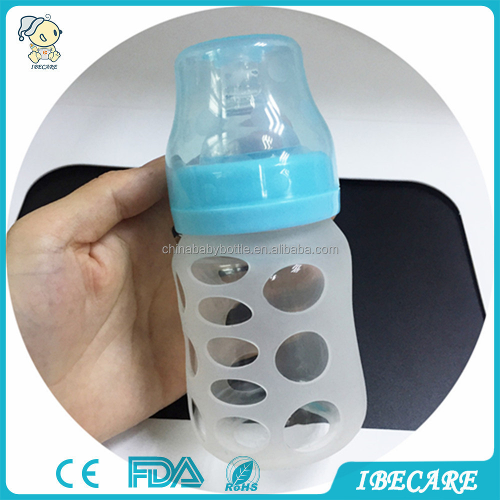 IBECARE 120ml lead free hand made glass nursing milk feeding bottle recycled borosilicate glass 3 month old baby bottles