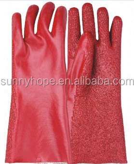Anti- chemical Guantlet red PVC coated glove