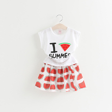 Cute Children Korean Cartoon Girl Ruffled Short Skirt and T-shirt Suits
