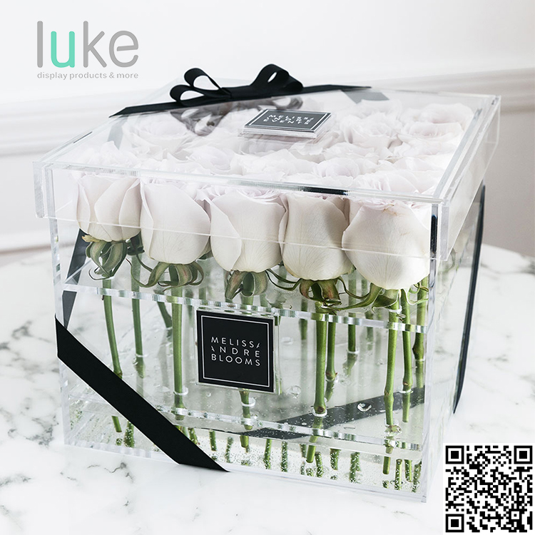 Transparent wedding acrylic vase rose flower box