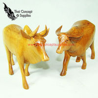 Wood Craft : Buffalo And Cow Animal Crafts Models - Thai Vintage Wood Carving For Home Decor