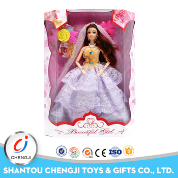 Newest high quality funny gift plastic beautiful doll dress for girl