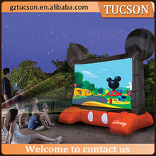 Cute customized giant inflatable mouse shape movie screen projection screen for recreation
