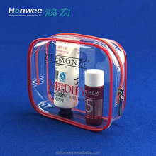 Daily Use Chemical Products Packaging Pouch Clear PVC Travel Bag With Zip