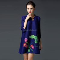 2016 new fashion the national wind V-neck printing casual dresses