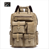 Durable Army Green Military Canvas Leather Travel Hiking Rucksack Backpack for Men