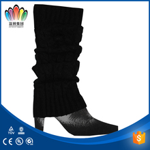 FT FASHION Winter Black Knitted Leg Warmers