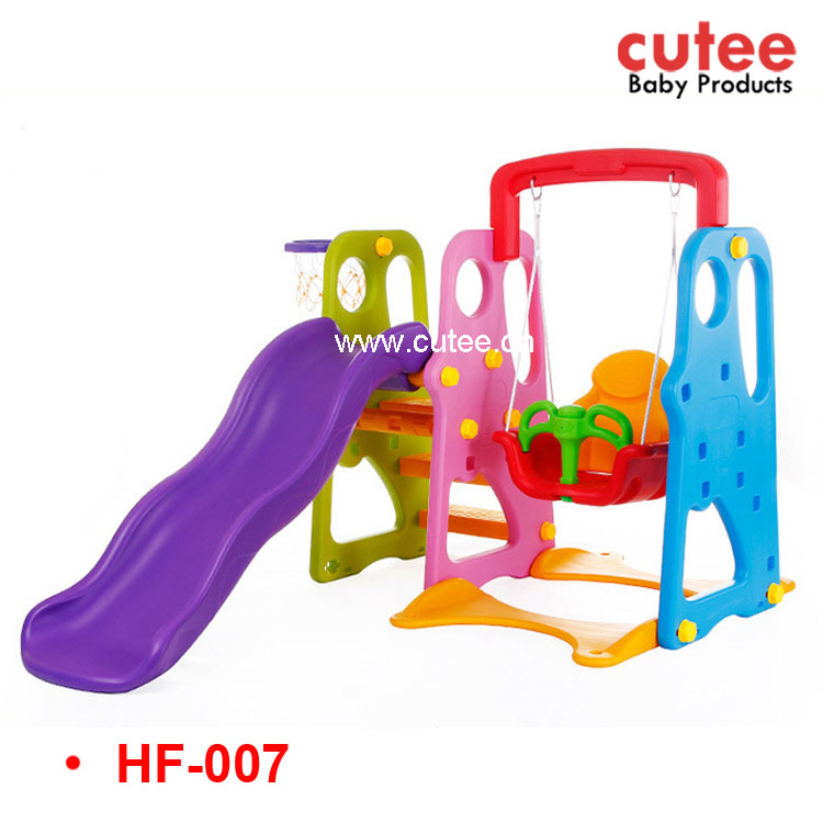 High quality Indoor Outdoor Kids Plastic Baby Swing And Slide Play Set