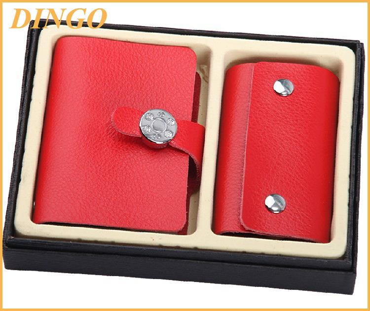 Promotional Gifts Genuine Leather Card Holder Key Case Sets with Gift Box