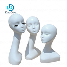 Hot sale available Logo plastic ABS wig display hats display long neck mannequin head