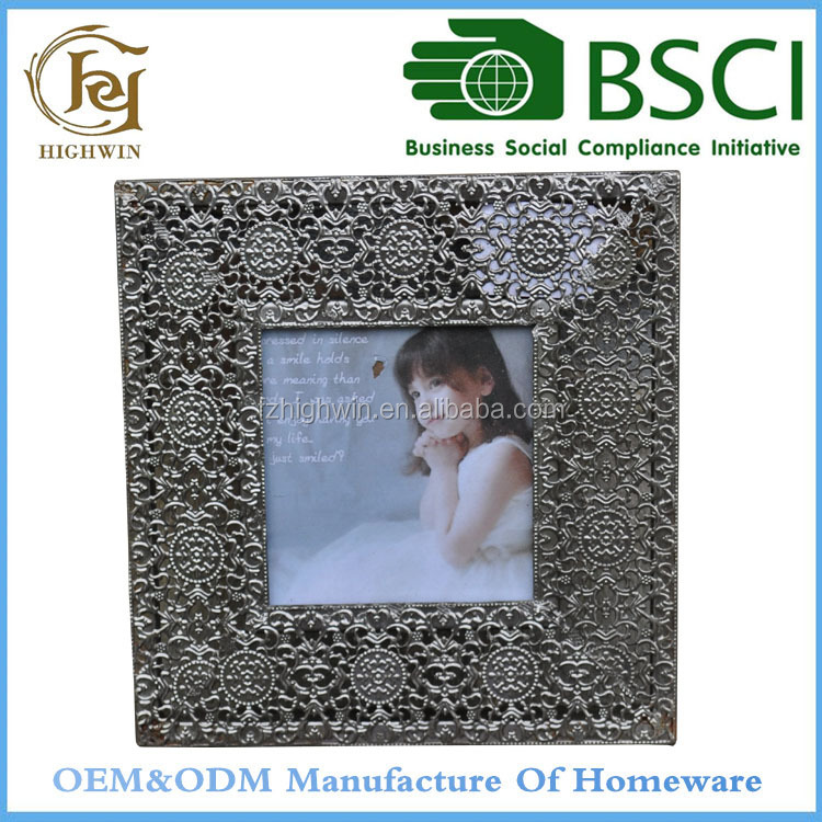 Square decorative Bed Metal Photo Frame for wall or tabletop