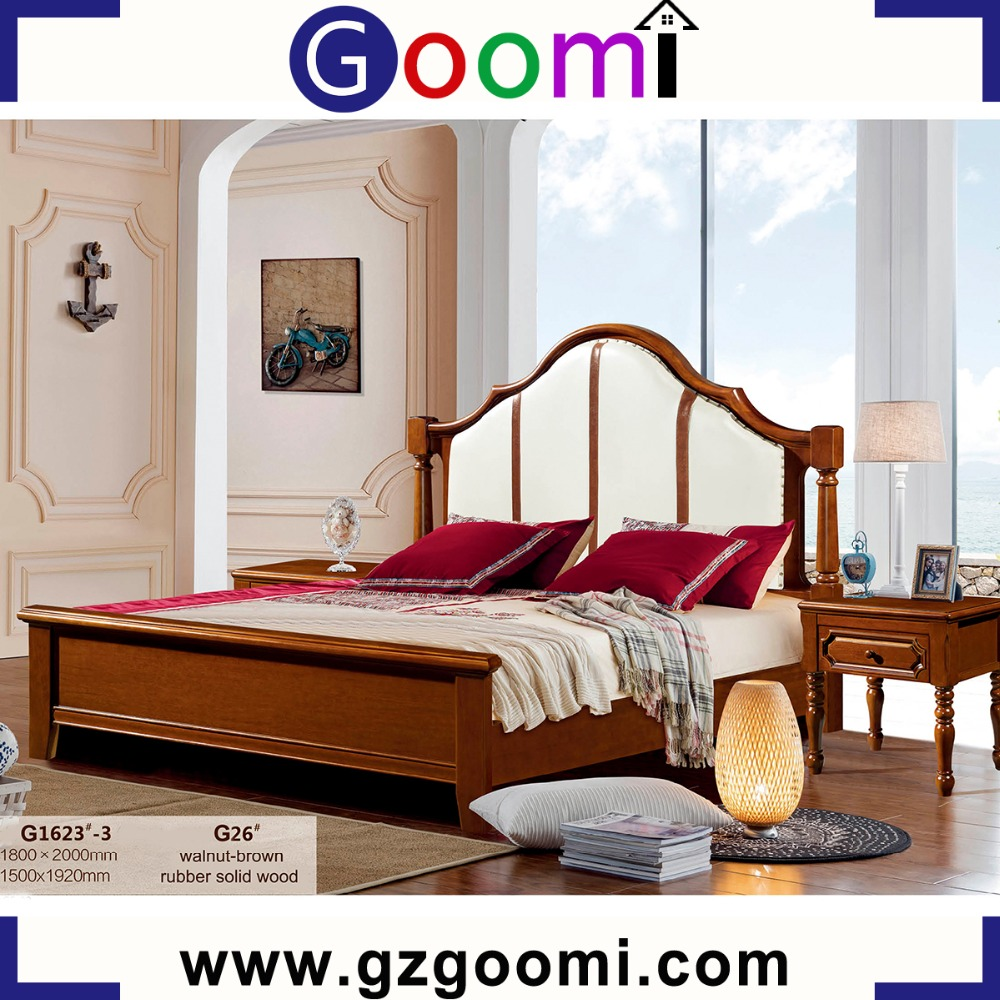 2017 New G1623# GanZhou Goomi Bed Luxury Leather Solid Wooden Modern Wholesale Home classic italian provincial bedroom furniture