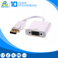 Displayport male to VGA female cable supporting digital audio/video interconnect