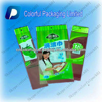 Pearlized film header clean cloth Packaging Bag with customized printing