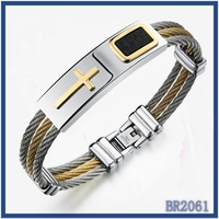 new products 2016 unique design small order quantity high quality men's fashion jewelry titanium gold plated cross men bracelet