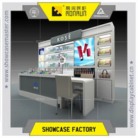 Corner shop cosmetics kiosk display counter and wall cabinet