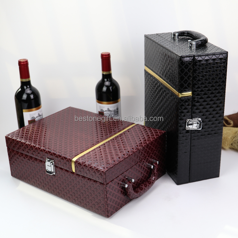 Custom Made Luxury MDF Wood Leather Gift Set Wine Box