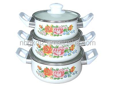 enamel cookware casserole sets with two side decal glass cover and plastic lid