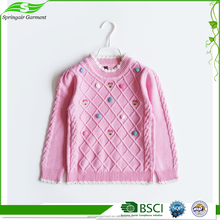 Wholesales Fashionable Luxury Korean Children Woolen Child Pullover Knitting Pattern Girls Sweater Knitted